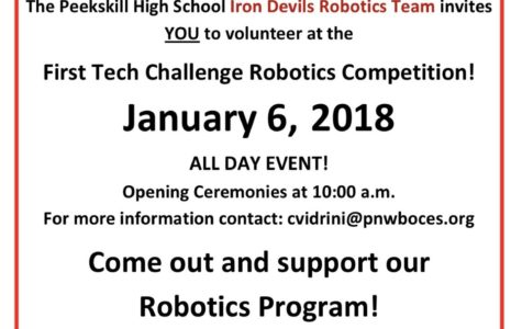 FTC Robotics Challenge Coming to Peekskill High School THIS Weekend!
